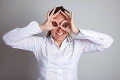 Business woman making circles Stock Image