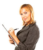 Business woman making notes Royalty Free Stock Photos