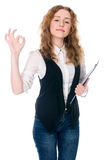 Business woman making a OK gesture. Royalty Free Stock Images