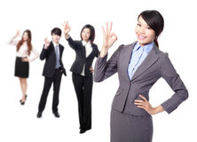 Business woman making the ok sign Royalty Free Stock Images