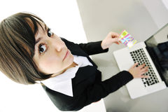 Business woman making online money transaction Stock Photography