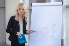 Business woman making a presentation. At the office with visual aid showing growth on income Royalty Free Stock Images
