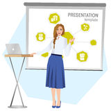 Business woman making a presentation. Vector Royalty Free Stock Photos