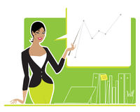 Business woman making a report. Vector illustration of a busines lady making a report royalty free illustration