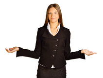 Business woman making a scale with her arms wide Stock Images