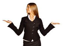 Business woman making a scale with her arms wide Stock Photography
