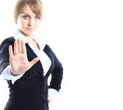 Business woman making stop gesture Royalty Free Stock Images