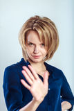 Business woman making stop hand sign Stock Photos