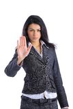 Business woman making stop sign Royalty Free Stock Photo