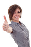 Business woman making thumb up gesture Stock Image