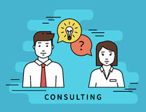 Business woman and male consultant with question. Consulting business. Flat line contour illustration of business woman and male consultant with question and Stock Photography