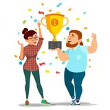 Business Woman And Man Achievement Concept Vector. Best Workers Celebrating Success. Attainment, Company Progress. Business Man, Woman Achievement Concept Vector Royalty Free Stock Photography