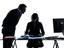 Business woman man couple silhouette Stock Photo