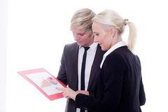 Business woman man digital tablet Stock Image