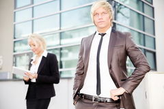 Business woman man digital tablet Stock Photos