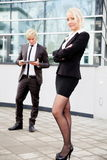 Business woman man digital tablet Royalty Free Stock Photo
