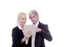 Business woman man digital tablet Stock Images