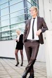 Business woman man digital tablet Stock Image