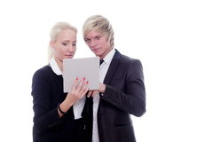 Business woman man digital tablet Royalty Free Stock Photography