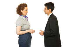 Business woman and man discuss Stock Photos