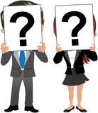 Business Woman and Man Face Behind Question Mark. Cartoon business woman Meg and business man Bob holding piece of paper with a question mark hiding their own Stock Images