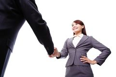 Business woman and man handshake Stock Image