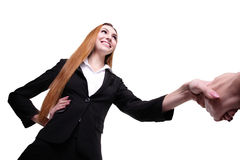 Business woman and man handshake Stock Images