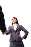 Business woman and man handshake Stock Photos