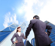 Business woman and man handshake Royalty Free Stock Images