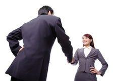 Business woman and man handshake Stock Photo