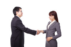 Business woman and man handshake Royalty Free Stock Image