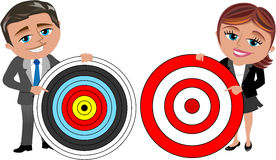 Business Woman and Man Holding Target royalty free illustration