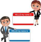Business Woman and Man Introducing Theirself. Cartoon business woman Meg and business man Bob introducing theirself with big hello my name is card isolated on Stock Image