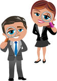 Business Woman and Man with Magnifying Glass. Cartoon business woman Meg and business man Bob looking through magnifying glass isolated on white background. You Royalty Free Stock Photography