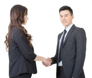 Business woman and man shake hands Royalty Free Stock Photos