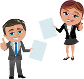 Business Woman and Man Showing Document Royalty Free Stock Photos