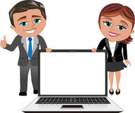 Business Woman and Man Showing Laptop Royalty Free Stock Images