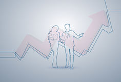 Business Woman And Man Silhouette Financial Graph Arrow Up Background. Vector Illustration Royalty Free Stock Photo