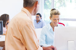 Business Woman and Man Talking to Each Other Stock Photos