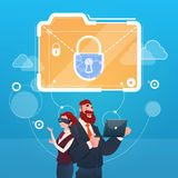 Business Woman And Man Wear Digital Virtual Reality Glasses Document Lock Data Protection Concept. Flat Vector Illustration Royalty Free Stock Photo