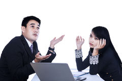 Business woman and man working together Royalty Free Stock Photo