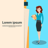 Business Woman Manager Hold Document Folder Royalty Free Stock Images