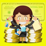 Business woman with many arms and big golden coins Royalty Free Stock Images