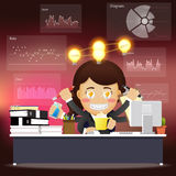 Business woman with many arms working on computer with idea bulb Royalty Free Stock Image