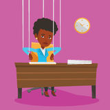 Business woman marionette on ropes working. Stock Photo