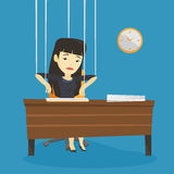 Business woman marionette on ropes working. Stock Photos