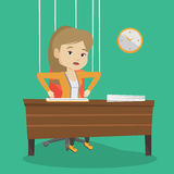 Business woman marionette on ropes working. Royalty Free Stock Photo