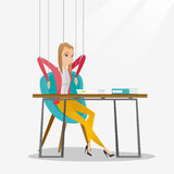 Business woman marionette on ropes working. Stock Images