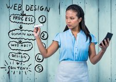 Business woman with marker and phone against website mock up and blue wood panel Stock Photos