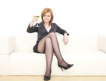 Business woman with martini Royalty Free Stock Image